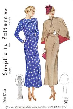 Shop sewing pattern reproduction- dress and matching cape. Dress has long sleeves with front and back bodice shirring at yoke, wide belt cinches the waist Vintage Dress Patterns, Clothing Patterns, Vintage Dresses, Vintage Outfits, Retro Clothing, Vintage Costumes, Retro Fashion, Vintage Fashion, 1930s Fashion