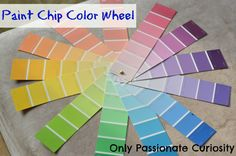 Color Wheel made out of paint chips, and more learning about color ideas