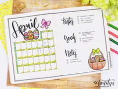 Monthly, Bujo, Bullet Journal, Inspiration, Idea, Ideen, Bullet Journal Layout, Planner, Monthly Monthlyspread, Bujomonthly, April, Eater, Oster Bujo, Doodle, Bujo,