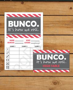 Bunco Score Card | Printable | Instant Download | PDF File | It's How We Roll