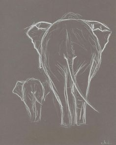 Two Elephant White Pastel Drawing. Original Elephant drawing. Baby elephant with mother.Elephant minimalism sketch.Nursery Art.Wall Art.8x10...