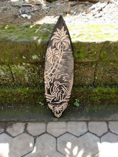 "Wooden Surfboard w/ Surfer & Tropical Scene 20"" - Hawaii Decor"