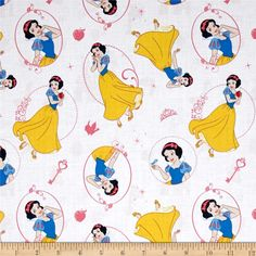 Disney Princess Snow White White from @fabricdotcom  Licensed by Disney to Camelot Fabrics, this magical Disney princess cotton print is perfect for quilting, apparel and home décor accents. This is a licensed fabric and not for commercial use. Colors include white, yellow, blue, pink, tan, black and brown.