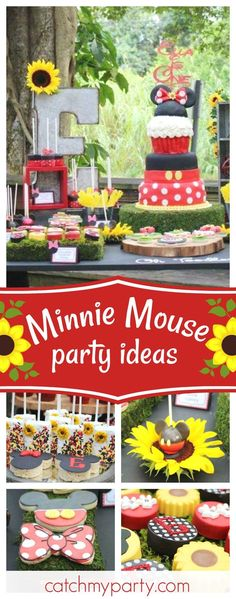 Fall in love with this gorgeous sunflower themed Minnie Mouse 1st birthday party. Love the cake!!! See more party ideas and share yours at CatchMyParty.com
