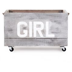Industrial Loft Style Antique White Painted Storage Box on Casters -... ($383) ❤ liked on Polyvore featuring home, children's room and children's decor