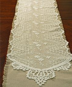 White Embroidered Tulle Table Runner | something special every day