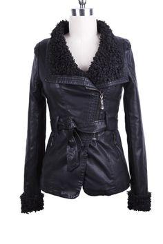 Black Fleece Lapel Leather Jacket
