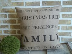 Family Christmas Pillow by SimplyFrenchMarket on Etsy, $42.00