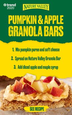 Not only are Nature Valley Bars great to eat on their own - you can use them in lots of exciting recipes. Like these Pumpkin & Apple Granola Bars. Sweet, creamy and delicious! Add Nature Valley to your shopping list. Tap the Pin to learn more. Fall Recipes, Holiday Recipes, Snack Recipes, Dessert Recipes, Healthy Snacks, Healthy Recipes, Summer Snacks, Granola Bars, Pumpkin Puree