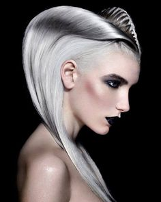 Most intriguing hairstyle of the British Hairdressing Awards 2014. Hair by Angelo Vallillo; Photog: Richard Miles. #silverplatinumhair #fantasyhair #hotonbeauty fb.com/hotbeautymagazine