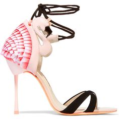 Sophia Webster Flamingo Frill leather, satin and suede sandals ($710) ❤ liked on Polyvore featuring shoes, sandals, heels, sophia webster, pink, ankle wrap sandals, ankle strap shoes, strappy sandals, pink sandals and high heel sandals