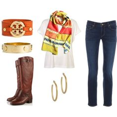 LOVE - how to wear jeans a white tee and brown boots