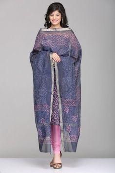 Dabu Print Maheshwari Unstitched Suits | IndiaInMyBag.com