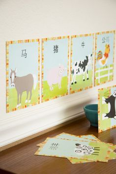 nursery art - barn animals - chinese