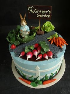 Peter Rabbit Garden Baby Shower Cake