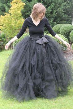 Black adult tutu, long black skirt, sewn tutus, Wide Satin sash, Wedding tutu, Prom dress. $355.00, via
