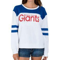 8fbb010b4 New York Giants Junk Food Womens Champion Color-Blocked Crew Fleece  Sweatshirt – White Denver