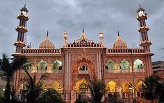 Arambagh Mosque, Karachi: An illuminated view of colorful lights installed over the Aram BaghMosque in connection with Shab-e-Barat.