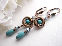 Turquoise earrings, copper earrings, long gemstone earrings
