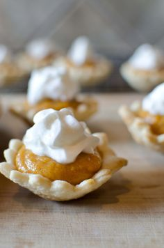 Mini Pumpkin Pies: Make fall favorite pumpkin pie into bite-sized desserts! With just five ingredients and 25 minutes you'll have tasty little pumpkin pies to share.