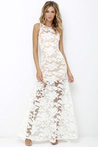 Lovely Ivory Dress - Lace Dress - Maxi Dress - Backless Dress - $74.00