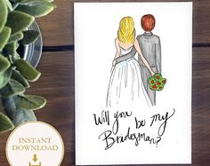 PDF BridesMAN drawing - Blonde Bride with Brunette Bridesman - will you be my bridesman? Bridesmaid proposal illustration, instant download