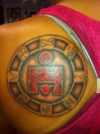 Ironman Cozumel Tattoo with glyphs representing water, road, wind, sky, manifest, yellow warrior and companion spirit Triathlon Tattoo, Ironman Tattoo, Glyphs, Iron Man, Tattoo Designs, Ink, Cozumel, Tattoos, Spirit