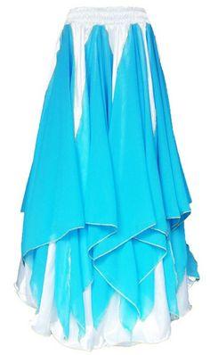 Saia Cigana Ninfa Branca com Azul