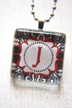 Personalized Monogram Glass Tile Jewelry by outonalimbstudio, $8.00