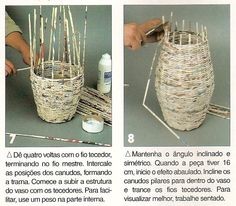 Newspaper recycle into a vase (step by step - part Recycled Paper Crafts, Newspaper Crafts, Cute Crafts, Diy And Crafts, Arts And Crafts, Magazine Crafts, Paper Jewelry, Paper Straws, Craft Projects
