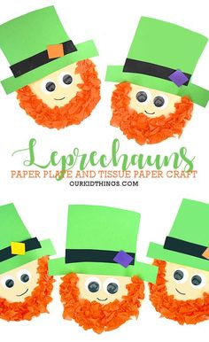 Kids will have fun making this Paper Plate Leprechaun Craft for St. Patrick's Day with a small-size paper plate, tissue paper, and cardstock. Saint Patricks Day Art, St Patricks Day Crafts For Kids, St Patrick's Day Crafts, Popsicle Stick Crafts, Craft Stick Crafts, Paper Crafts, Craft Ideas, Bead Crafts, Fun Ideas