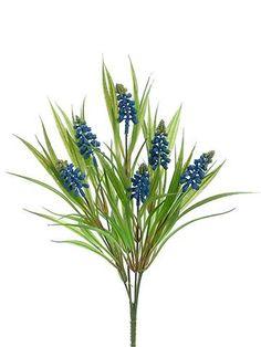 Artificial Muscari Flower Bush in Blue - 14in. Tall