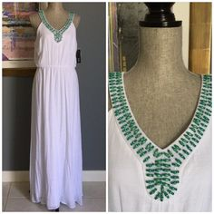 Listing✨AGB Beaded Gauze Maxi Beautiful white gauze maxi from AGB .  Features very pretty green beading around neckline , elastic waistband , fully lined .  Made of 65% rayon/35% polyester .  Lining made of 100% polyester .  Perfect for summer or to take on vacation  PLEASE DO NOT PURCHASE THIS LISTING as I have 2 available and prefer to create a personal listing AGB Dresses Maxi