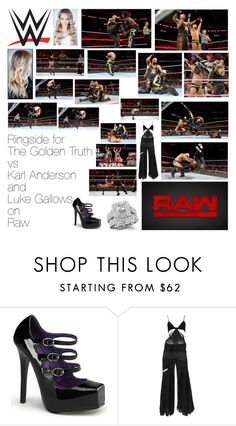 """Ringside for The Golden Truth vs Karl Anderson and Luke Gallows on Raw"" by wwediva72 ❤ liked on Polyvore featuring beauty, Devious, Gucci and WWE"