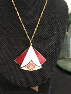 Vintage Cloisonne pendant, pendant cloisonné, white red cloisonne pendant, art deco cloisonné pendants, vintage cloisonné jewelry, N114 by DuckCedar on Etsy