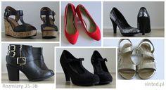 Buty na sprzedaż: botki, sandały, koturny, obcasy. Rozmiary 35-38. Zapraszam na mój profil na vinted.pl!