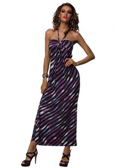 809954e6456 Purple stripes carefree halter strapless maxi dress - Do you want to own a  unique summer