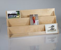 Birch retail display for greeting cards and postcards, three shelf with choice of clear acrylic or wooden lip.