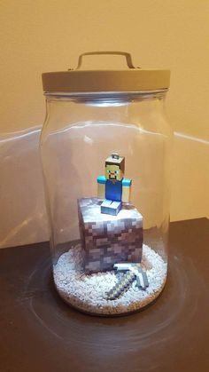 Minecraft inspired Night Light Jar by MagicalNightLightjar on Etsy