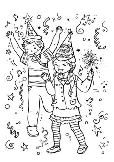 The Kids Party In The New Year Eve Coloring Page