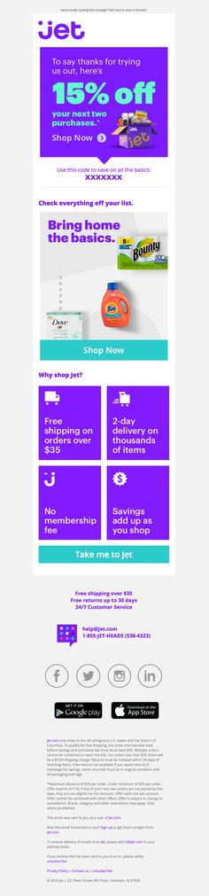 Jet.com sent this email with the subject line: Here's 15% off your next 2 orders - Read about this email and find more retention emails at ReallyGoodEmails.com #ecommerce #onboarding #retention