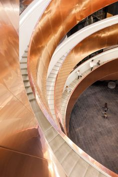 Copenhagen's Experimentarium features a helical staircase and cladding based on fluid dynamics — Dezeen Beautiful Architecture, Architecture Details, Interior Architecture, Interior Design, Architecture Images, Design Interiors, Carpet Staircase, Grand Staircase, Fluid Dynamics