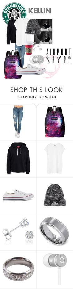 """""""KELLIN"""" by maxxvalentine on Polyvore featuring JanSport, Oak, Converse, Amanda Rose Collection, Kobelli, Lucky Star Jewels and Beats by Dr. Dre"""