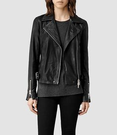 Womens Ayers Leather Biker Jacket (Black)   ALLSAINTS.com