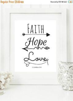 "50% Off ALL Digital Prints Instant 8x10, 18x24 ""Faith, Hope, Love "" Black & White Digital Wall Art Print, Modern Christian Art, Scripture Pr"
