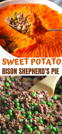 Shepherd's pie recipe gets a makeover, with a twist. Flavorful bison and nutrient packed sweet potatoes make this comfort food irresistibly good. 310 calories and 8 Weight Watcher Freestyle SP Pie Recipes, Cooking Recipes, Healthy Recipes, Ground Bison Recipes Healthy, Easy Dinner Recipes, Easy Meals, Cheap Meals, Healthy Dinners, Easy Recipes