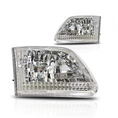 WinJet WJ10-0014-01 | 2001 Ford F-250 Chrome/Clear Euro Headlights for SUV/Truck/Crossover Auto Headlights, Suv Trucks, Car Lights, Custom Cars, Crossover, Euro, Chrome, Audio Crossover, Car Tuning