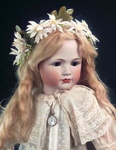 """27"""" German bisque character by Simon and Halbig, circa 1912, marked 1448 Simon & Halbig S&H 12 (head) Heinrich Handwerck (body). This rare model bears a close resemblance to Simon and Halbig's beloved IV model."""