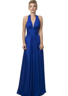 High quality 2016 Halter Chiffon Ruched A-line Blue Zipper Sleeveless Floor Length Homecoming / Evening / Prom Dresses 2096 from Formalgirldresses.com Online Shop!