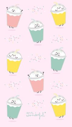 Food Wallpaper, Kawaii Wallpaper, Pastel Wallpaper, Wallpaper Iphone Cute, Cartoon Wallpaper, Mr Wonderful, Cute Backgrounds, Wallpaper Backgrounds, Gift Wrapper